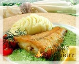 Камбала, палтус с луком и сельдереем в белом соусе