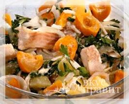 Салат рыбный с маринованным перцем