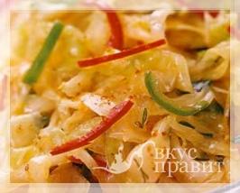 Капуста с чесноком и перцем (по-корейски)