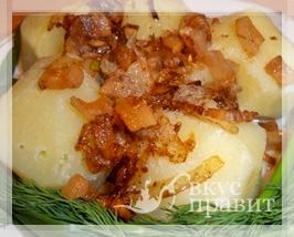 Картофель отварной со шкварками