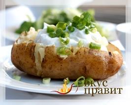 Картофель молодой с сыром и кислым молоком